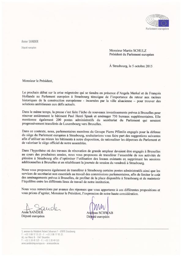 2015 10 07 Courrier M Schulz Siège de Strasbourg 001