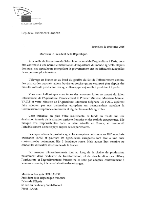 20160210 Lettre ouverte au Président de la République relative à la crise agricole 001