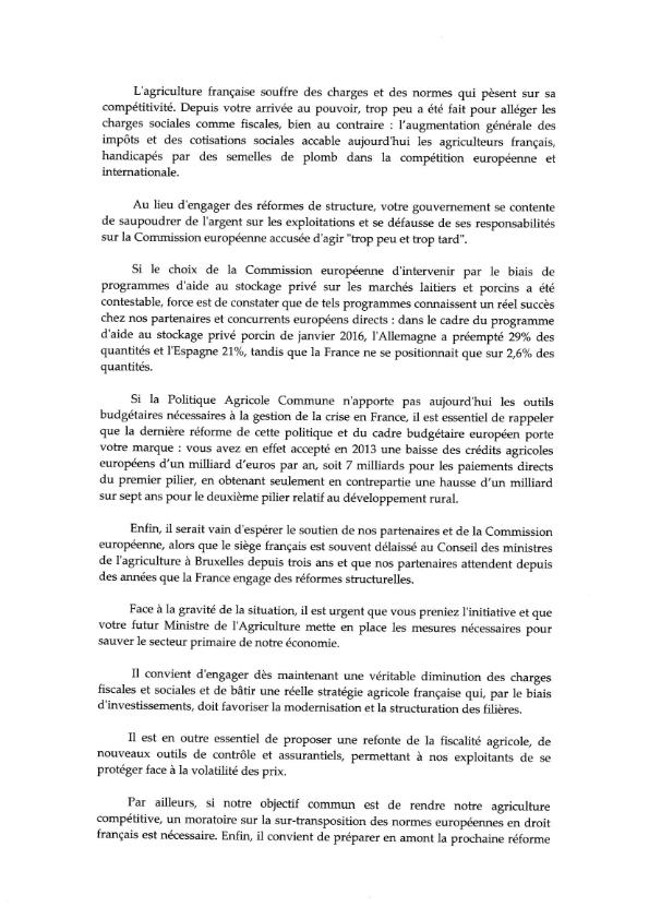 20160210 Lettre ouverte au Président de la République relative à la crise agricole 002