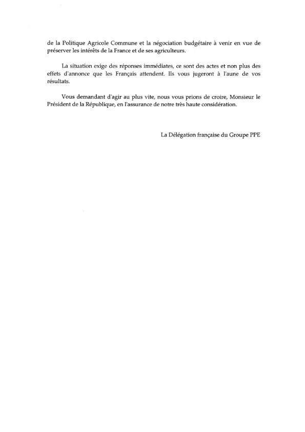 20160210 Lettre ouverte au Président de la République relative à la crise agricole 003