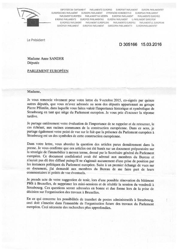 2016 03 18 Courrier de Martin Schulz en réponse au groupe Pierre Pflimlin 001
