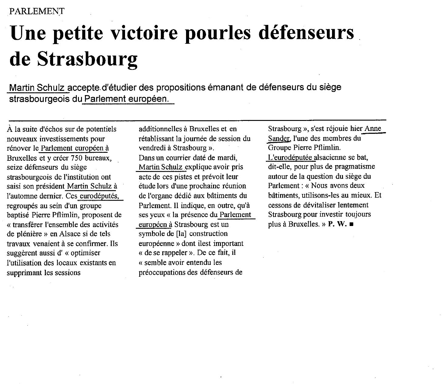une petite victoire pour les défenseurs de Strasbourg