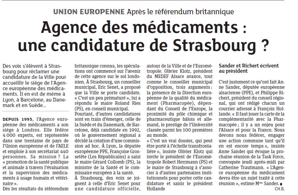 agence des médicaments une candidature de Strasbourg